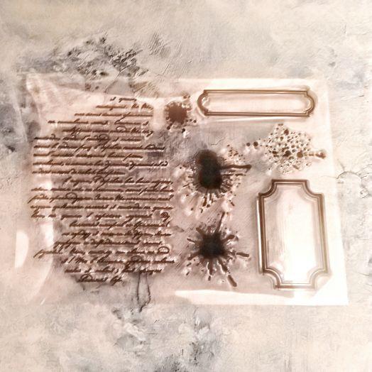 Штамп текст и кляксы