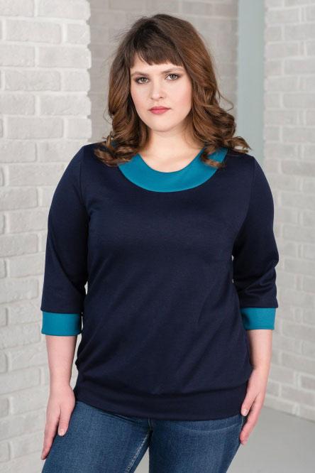 Блуза женская арт.0150-09 темно-синяя, милано