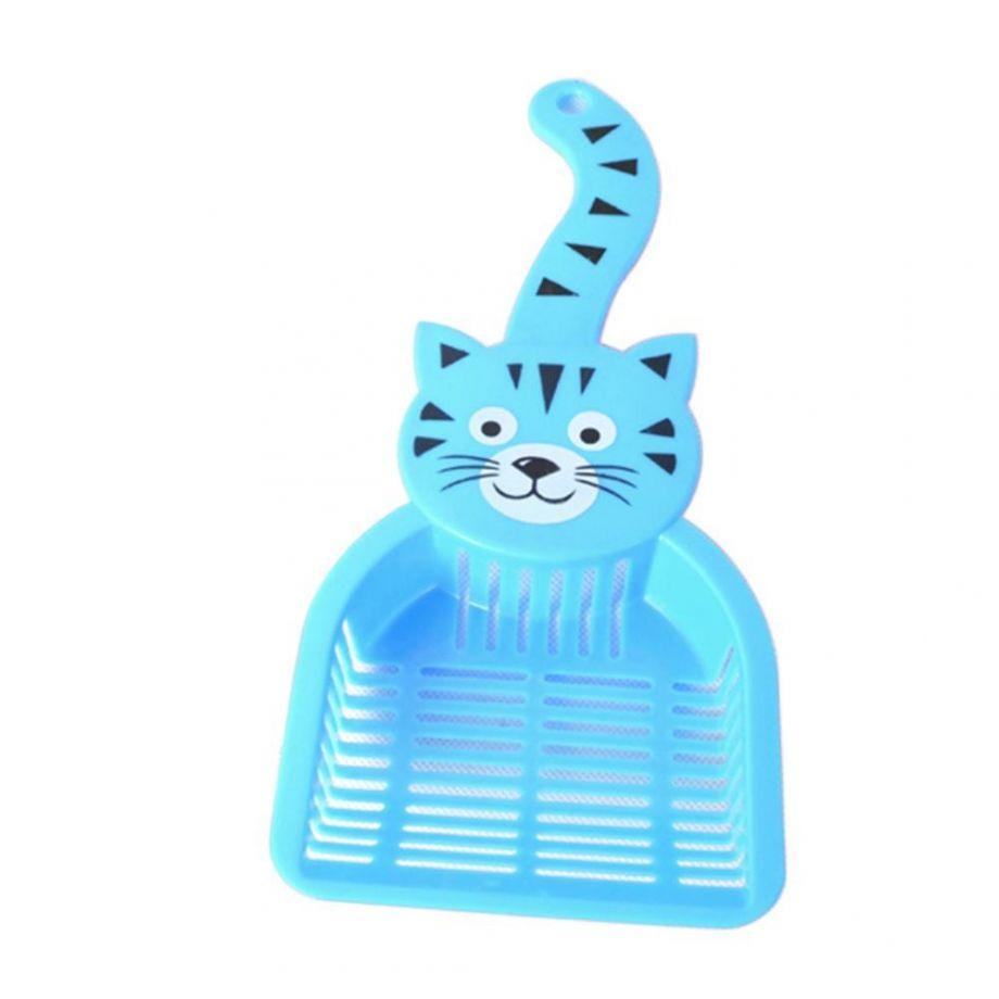 Совок для уборки кошачьего туалета (лотка), 28х12.5 см, цвет Голубой
