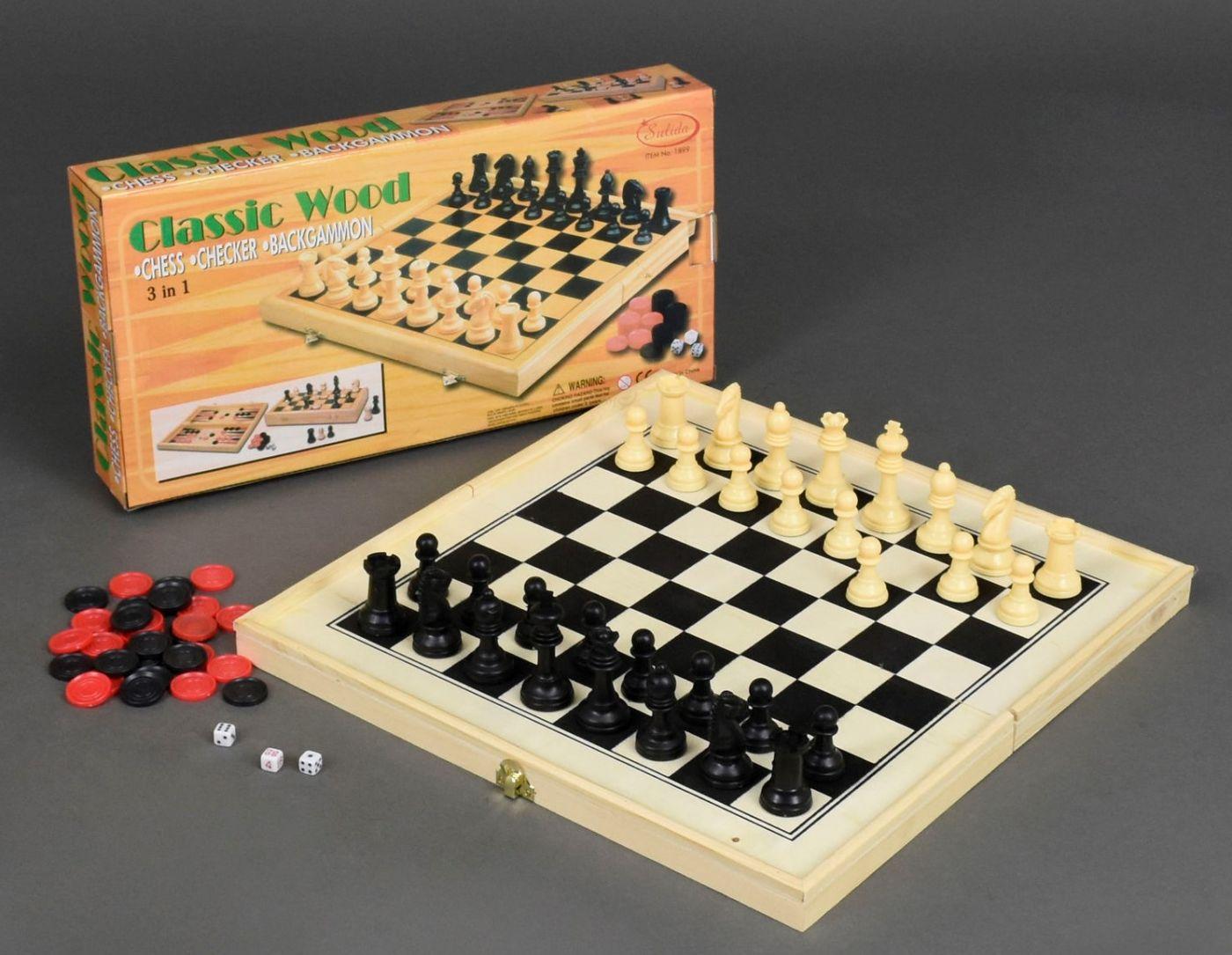 1899A  Набор  3 в 1 деревянные шахматы, шашки, нарды. размер 52х52 см.