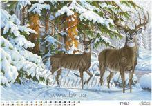 ТТ015 Барвиста Вышиванка. Олени в Зимнем Лесу. А2 (набор 4200 рублей)