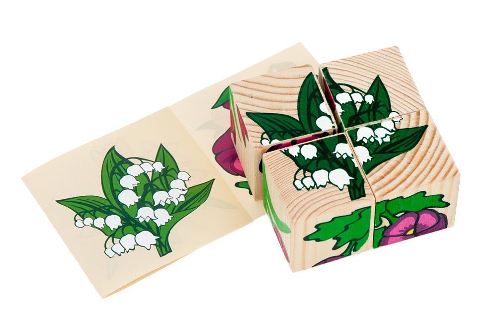 """Кубики """"Цветы"""" 4 элемента"""