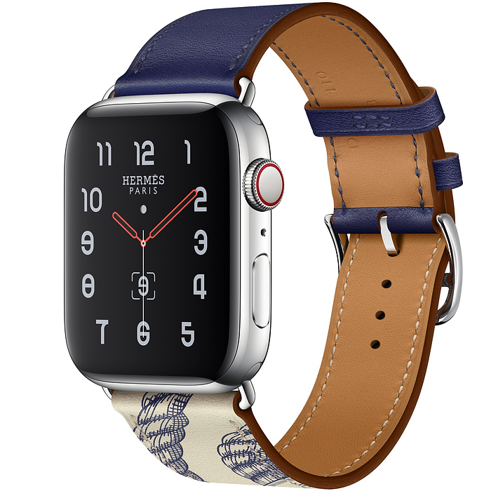 Apple Watch Hermes Series 5 44mm Stainless Steel GPS + Cellular Encre/B?ton with Leather Single Tour
