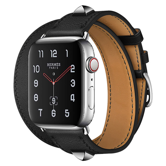Apple Watch Hermes Series 5 40mm Stainless Steel GPS + Cellular Medor Noir Swift Leather Double Tour