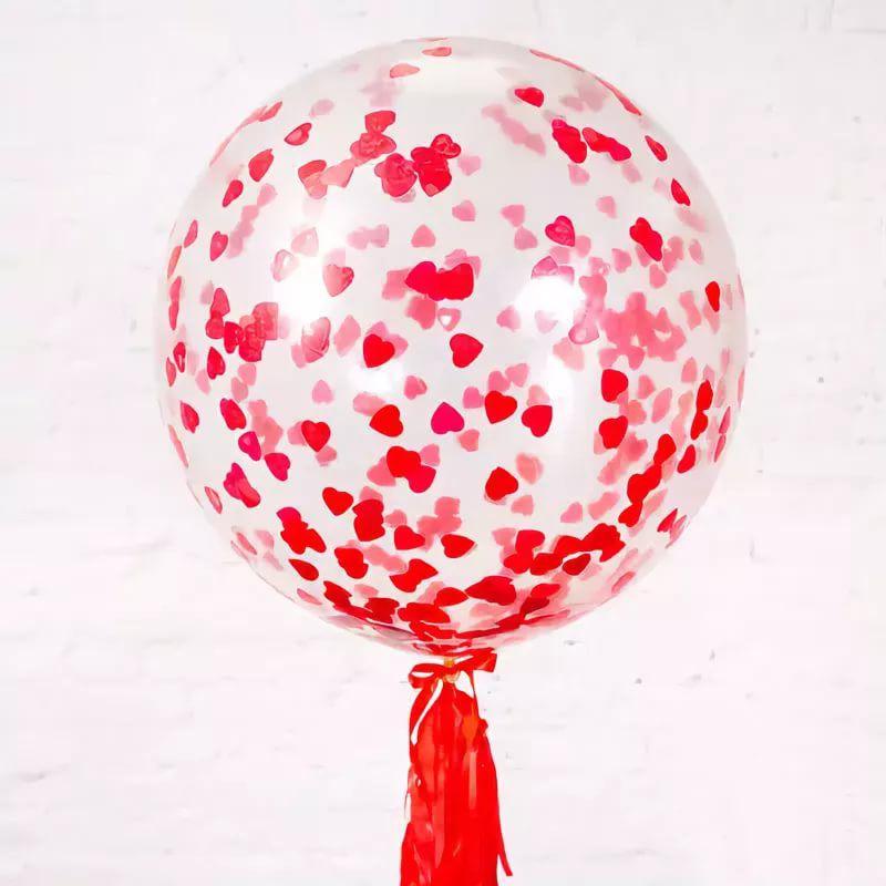 Метровый шар с конфетти-сердечками и кисточкой тассел латексный с гелием