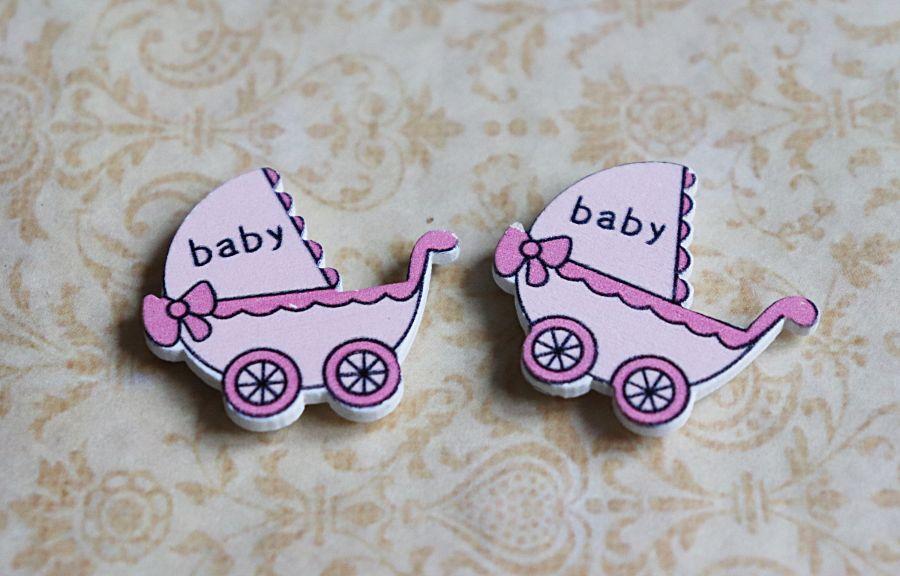 Деревянный стикер, Розовая коляска baby, 3*3 см