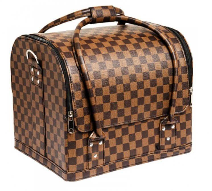Сумка-чемодан мастера кожзам коричневая клетка, 30х23х25 (см)