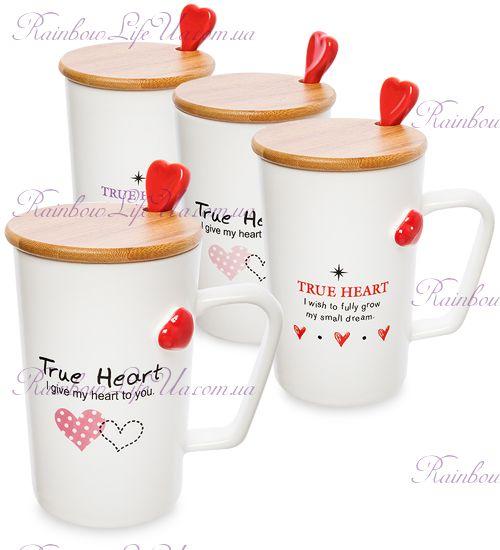 """Чашка с ложкой и крышкой """"True heart"""""""