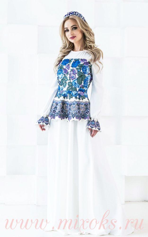 Платье белое для свадьбы в русском стиле