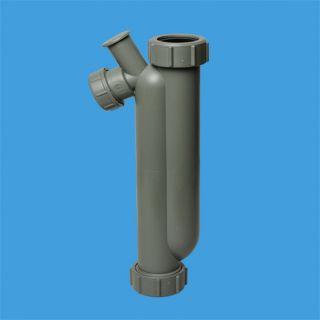 Сифон трубный S-образный без выпуска для слива конденсата с дополнительным отводом Ду=17мм; высота гидрозатвора 150мм; вход Ду=32мм, выход Ду=25мм; цвет-серый