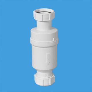 """Самозакрывающийся сливной клапан (""""сухой"""" сифон); вход 1 1/4""""«мама», выход компрессионный Ду=32мм.Упакован в пластиковый пакет"""
