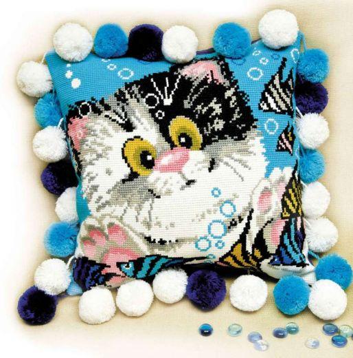 Набор для вышивания крестом Подушка Котёнок №1100 фирма Риолис
