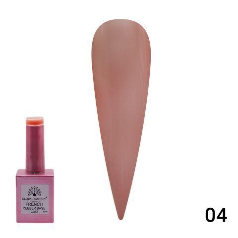 База камуфляж каучуковая для гель лака френч, French Rubber Base Coat , 15 мл., Global Fashion 04 розовый флакон