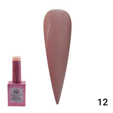 База камуфляж каучуковая для гель лака френч, French Rubber Base Coat , 15 мл., Global Fashion 12 розовый флакон