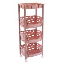 Пластиковая этажерка на колёсиках для хранения овощей, 3 корзины