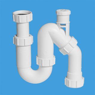 """сифон трубный Р/S-образный (1 1/4""""х32мм) без выпуска с вентиляционным клапаном и универсальной отводной трубой D32мм с компрессионным окончанием Ду=32мм"""