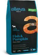 Alleva Natural Fish & Pumpkin Mini Полнорационный сухой корм для взрослых собак мелких пород, с рыбой и тыквой. 2 кг