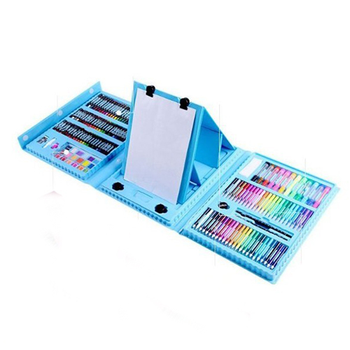 Набор для рисования со складным мольбертом в чемоданчике, 176 предметов, цвет - голубой.