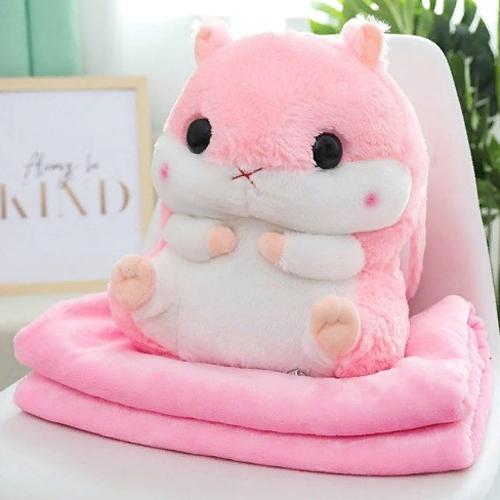Подушка-игрушка с пледом Хомяк 3 в 1, цвет - розовый.