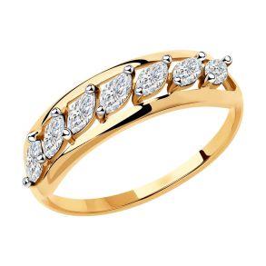 Кольцо из золота с фианитами 018411 SOKOLOV