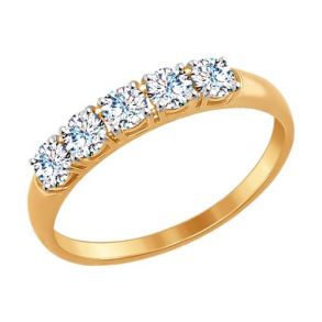 Кольцо из золота со Swarovski Zirconia 81010281 SOKOLOV