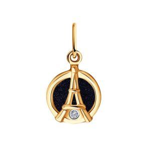 Подвеска из золота с бриллиантом и авантюриновое стекло 1030777 SOKOLOV