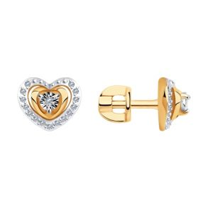 Серьги из комбинированного золота с бриллиантами 1021544 SOKOLOV