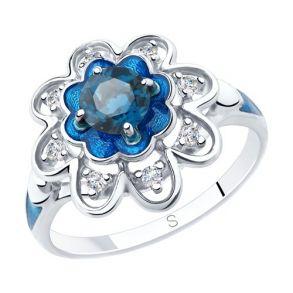 Кольцо из серебра с эмалью и синим топазом и фианитами 92011847 SOKOLOV