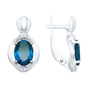 Серьги из серебра с синими топазами и фианитами 92021688 SOKOLOV