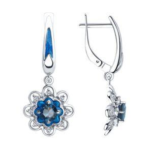 Серьги из серебра с эмалью и синими топазами и фианитами 92022064 SOKOLOV