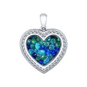 Серебряная подвеска «Сердце» с фианитами 94031953 SOKOLOV