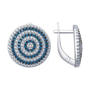 Серьги из серебра с голубыми ситаллами и фианитами 94022655 SOKOLOV