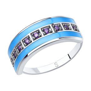 Кольцо из серебра с эмалью и фианитами 94012620 SOKOLOV
