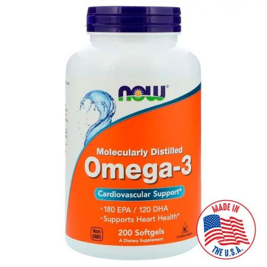 Омега-3 Now Foods, 180 EPA/120 DHA, 200 капсул