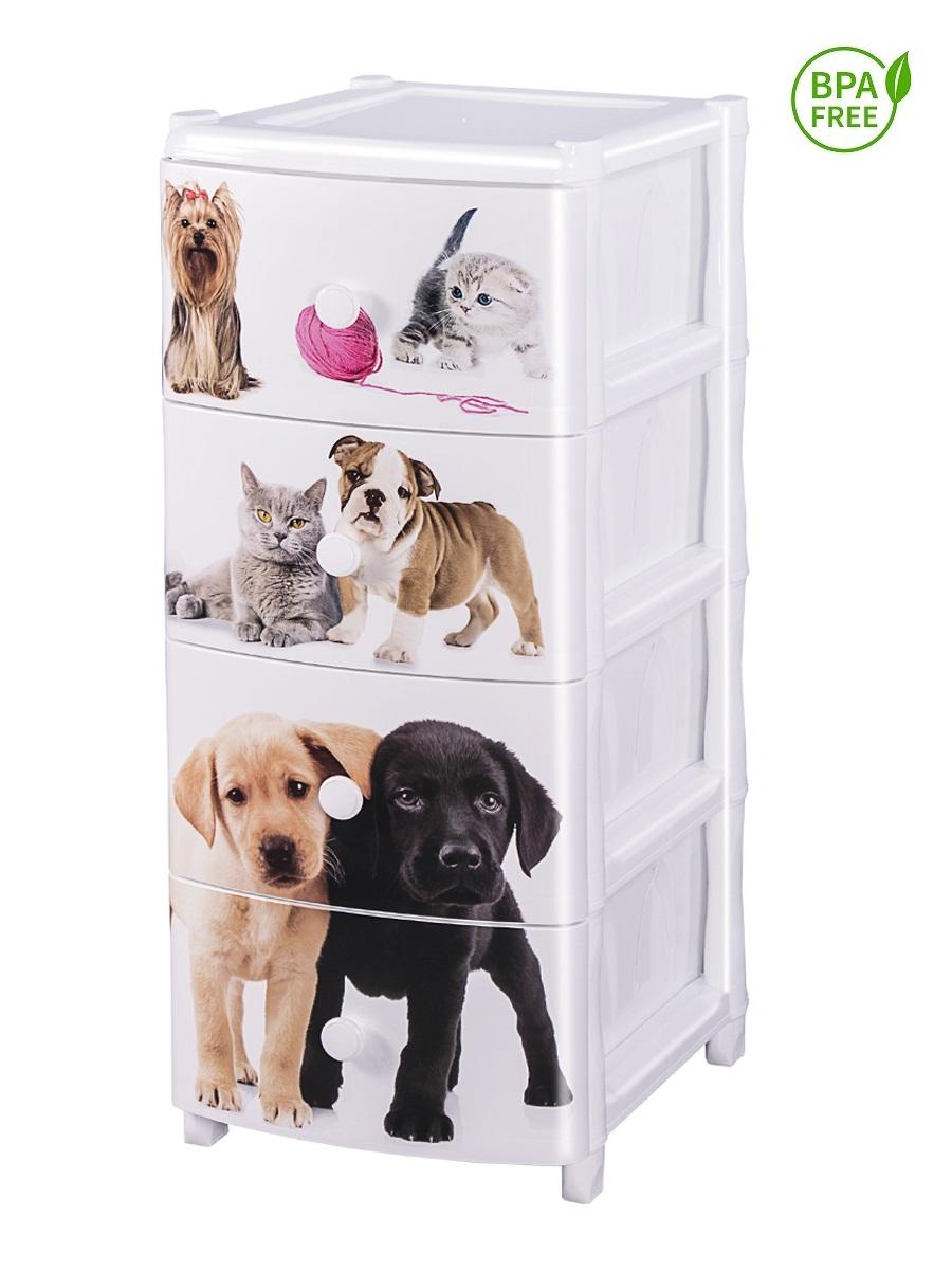 Комод с рисунком №13 Питомцы кошки и собаки 4-х секционный белый из пластика Эльфпласт 40х50х96 см