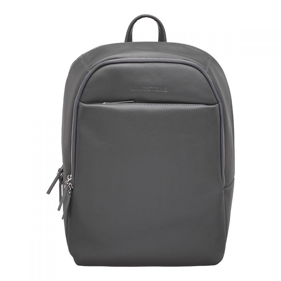 Кожаный мужской рюкзак для ноутбука LAKESTONE Faber Grey