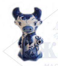 Сувенир Корова Гжель с букетом 10х5,5х5,5см
