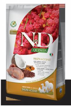 N&D Dog Quinoa Skin&coat Quail (Перепел, киноа, кокос и куркума. Здоровье кожи и шерсти)