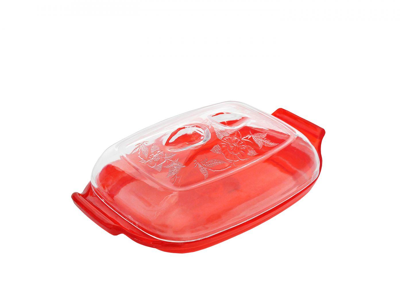 Масленка красная с узором Эльфпласт 19,3х12х6 см