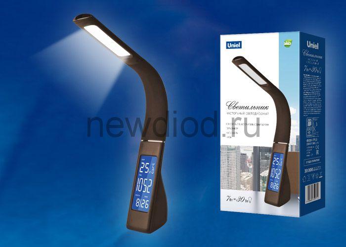 Светильник настольный с час/календ/терм 7W TLD-550 Black/LED/260Lm/4500K/Dimmer сенс выкл черный