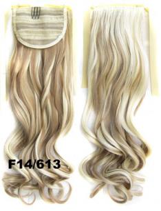 Искусственные термостойкие волосы - хвост волнистые №F14/613 (55 см) -  80 гр.