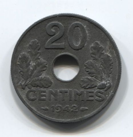20 сантимов 1942 года Франция, оккупация, режим Виши