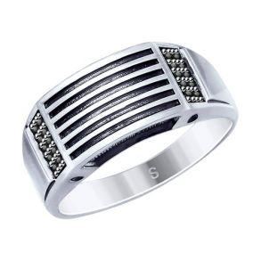 Кольцо из чернёного серебра с фианитами 95010122 SOKOLOV