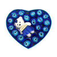 Мыльные розы 18 шт в коробке с мишкой (цвет голубой)_2