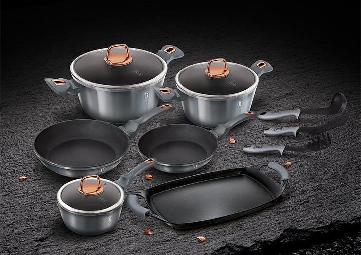Набор посуды BH-6021  Metallic line Moonlight Edition из 12 предметов+2 предмета Berlinger Haus