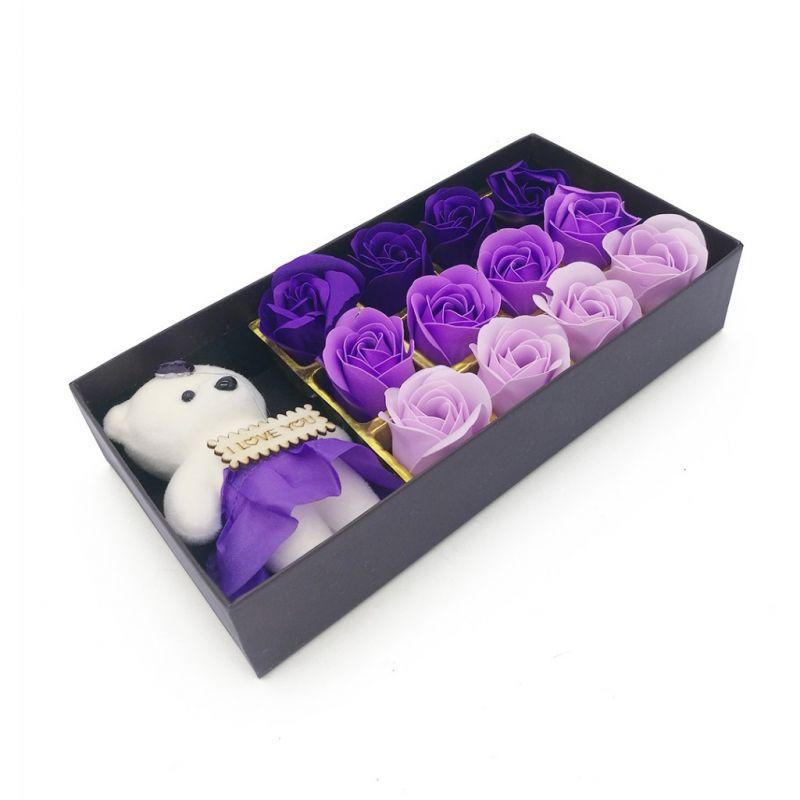 Мыльные розы 12 шт в коробке с мишкой (цвет фиолетовый микс)