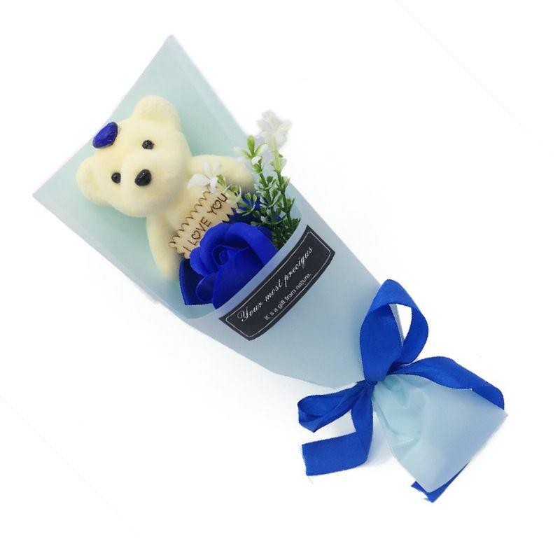 Мыльная роза с мишкой в упаковке (цвет синий)