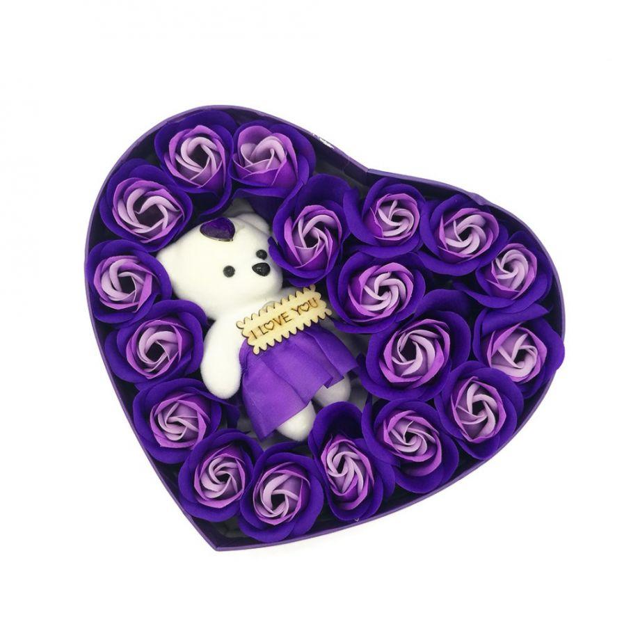 Подарочный набор Мыльные розы Love с мишкой, 18 шт, цвет Сиреневый