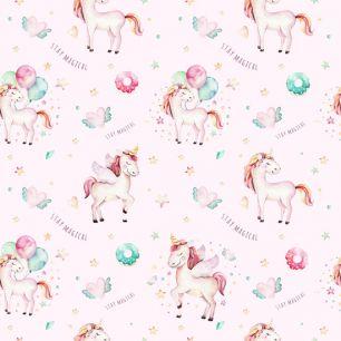 Лимитированная коллекция Арт-ткани Хлопок Сатин Единорожки на светло-розовом
