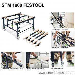 Раскроечный стол - верстак на колесах STM 1800 FESTOOL 205183 Новинка 2020 года !